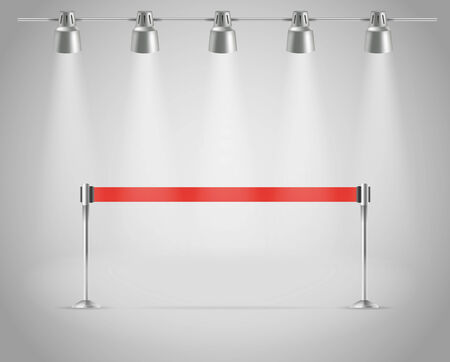 Photorealistic bright stage with projectors and red ribbon  Presentation vector template Stock Vector - 23203502