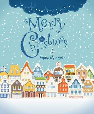 크리스마스 카드를 greating. 겨울에 눈이 빈티지 건물