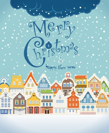 Christmas greating card. Vintage buildings with snowfall on Winter Vector
