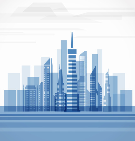 Big city on the river. Vector illustration Vector