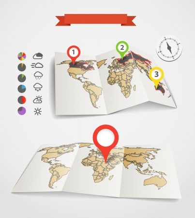 Eartgh maps set with weather icons and pie charts Vector