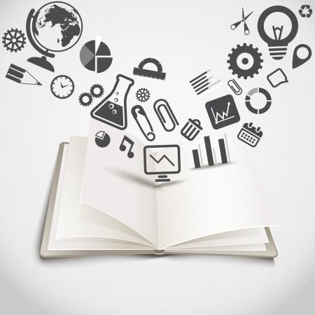 vzdělání: Otevřená kniha s různými grafickými siluety Ilustrace