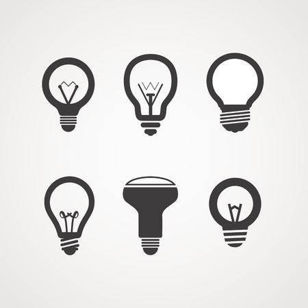 classic light bulb: Different light bulb icon collection