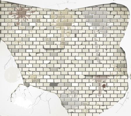 rubble: Antiguo fondo de pared de ladrillo sucio Vectores