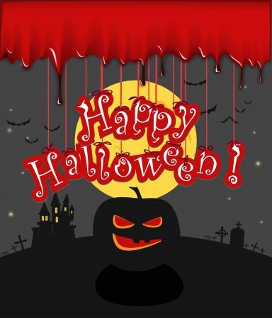 hallooween: Dark sillhouettes  Happy Halloween illustration  Illustration