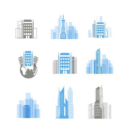 Modern city silhouettes collection isolated on white Stock Vector - 22498875