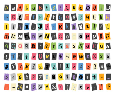 english alphabet: Different sign and symbols on paper sheets isolated on white