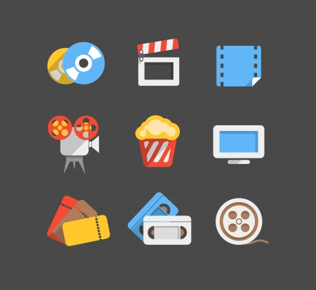 Cinema web flat design icons collection Vector