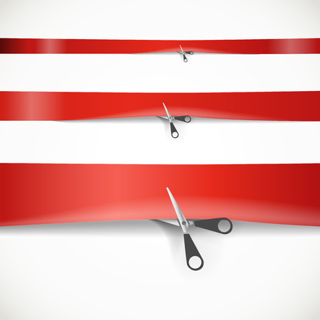 Scissors cutting the red advertising ribbon Vectores