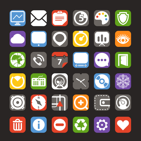 web color interface icons collection Vector