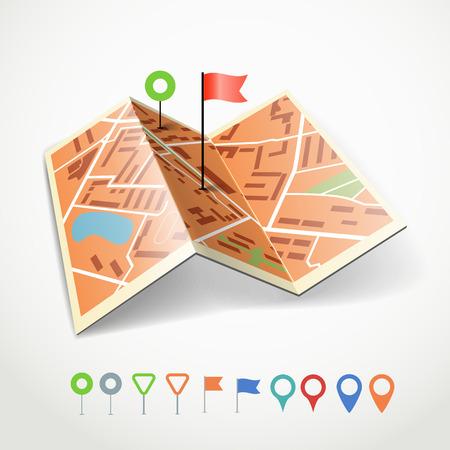 Gevouwen abstracte stad kaart met de inzameling van kleur punt pinnen