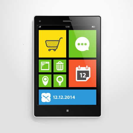 Modern mobile gadget with color interface Vector