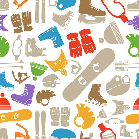 winter sports equipment silhouettes seamless pattern Vector