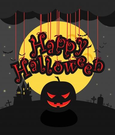 hallooween: Dark sillhouettes  Happy Halloween illustration