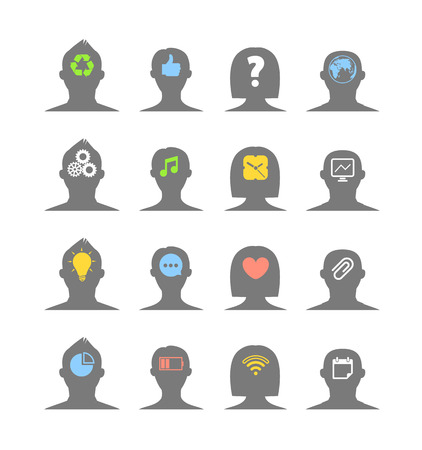 Human head silhouettes with different ideas  Isolated on white Vector