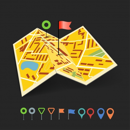 tour guide: Folded abstract city map with collection of color point pins