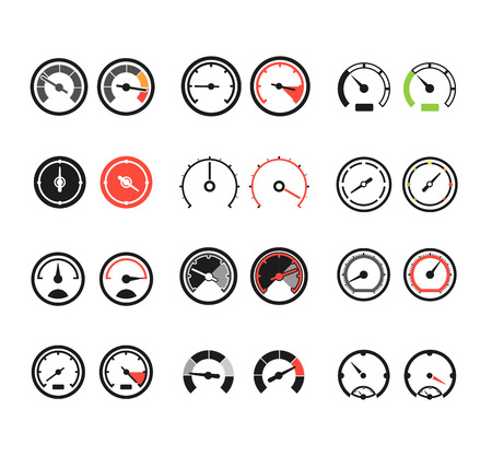 Different slyles of speedometers color vector collection Ilustração