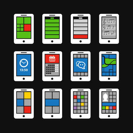 interface scheme: Abstract style modern mobile gadgets with color interface Illustration