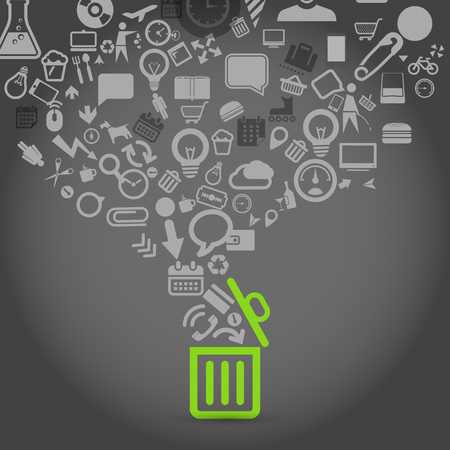 food industry: Different icons flows into garbage basket Illustration