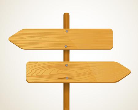 En blanco de madera flecha pensionistas. Plantilla para un texto
