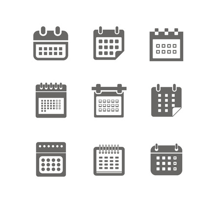 Different styles of calendar web icons collection isolated on white Vector