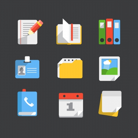 Modern web icons collection  Trendy paper style Illustration
