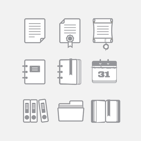 agenda: Office documents vector icons set