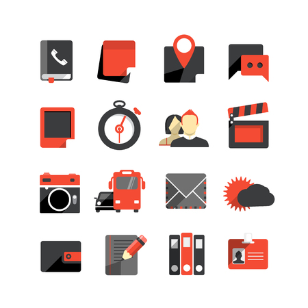phonebook: Flat design monochrome icons collection isolated on white