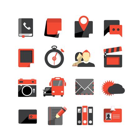 Płaska monochromatyczne ikony kolekcji samodzielnie na białym tle
