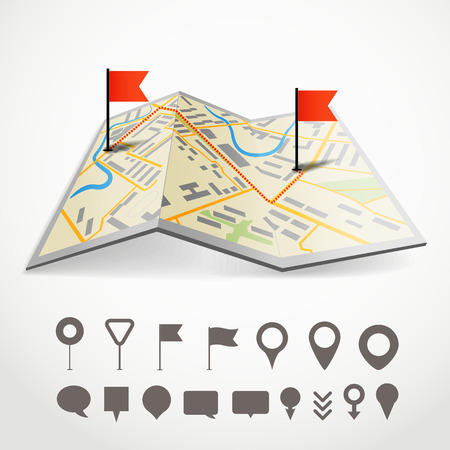 crossroad guide: Folded abstract city map with the route and collection of different pins