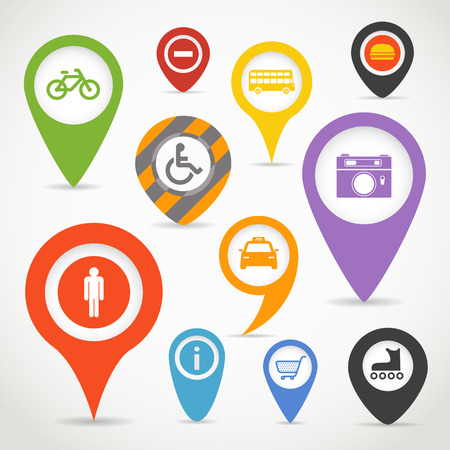 Navigation elements with transport icons Stock Vector - 22963288