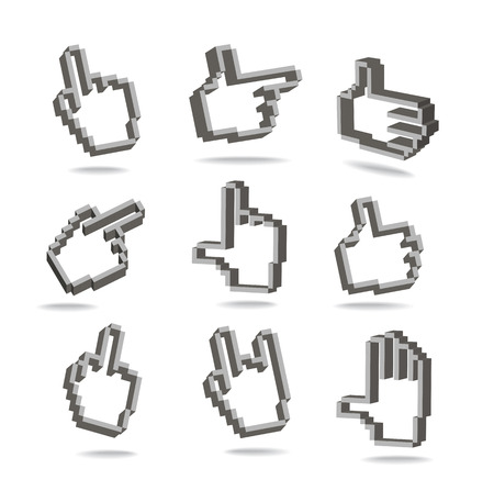 isolates: Pixel hand cursors collection in perspective isolated on white Illustration