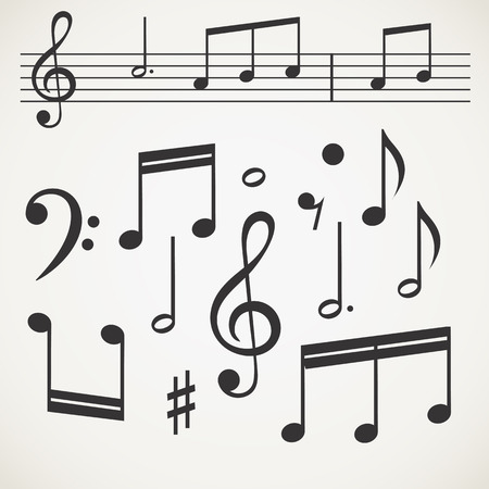 Music note collection on old paper Stock Vector - 22964220