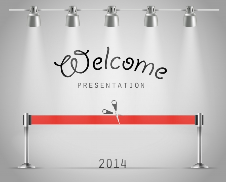 Photorealistic bright stage with projectors and red ribbon. Presentation vector template