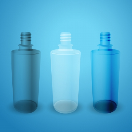 frosted: Matte and glossy bottles on blue background Illustration