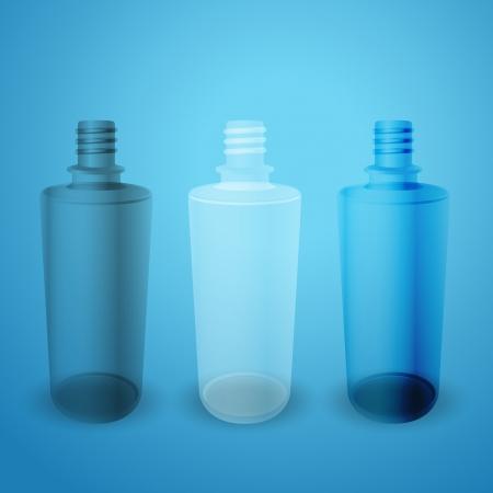 matte: Matte and glossy bottles on blue background Illustration