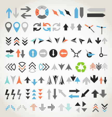 down arrow: Arrow sign icons collection Illustration