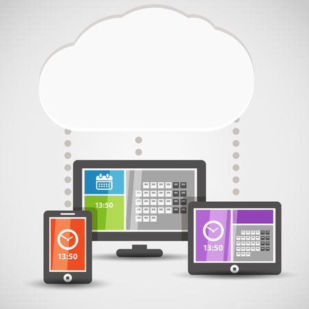 Modern gadgets with abstract tile interface. Cloud technology illustration Vector
