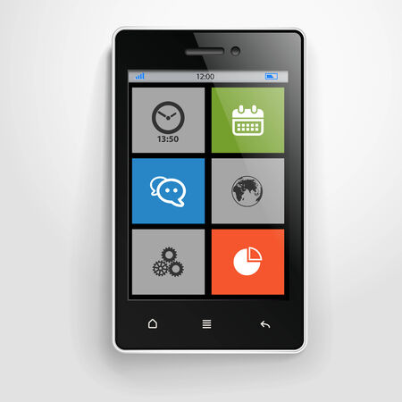 Modern mobile phone with color interface  Vector