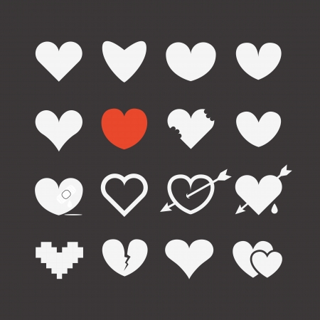 shape silhouette: Different abstract heart icons collection