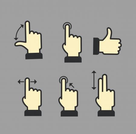 gestos: Gu�a con gestos b�sicos para trabajar con aparatos modernos Vectores