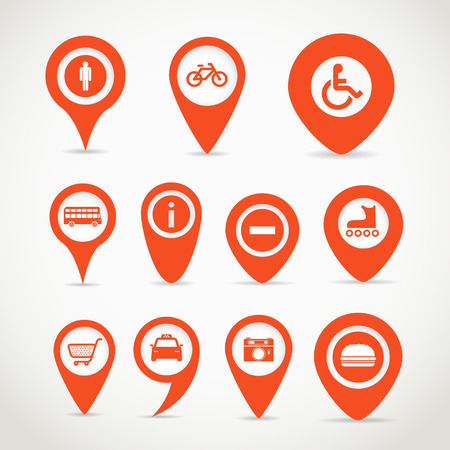 Red map signs Illustration