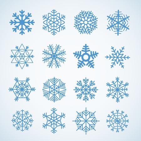 Different blue snowflakes set Vector