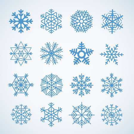 snowflake set: Different blue snowflakes set Illustration