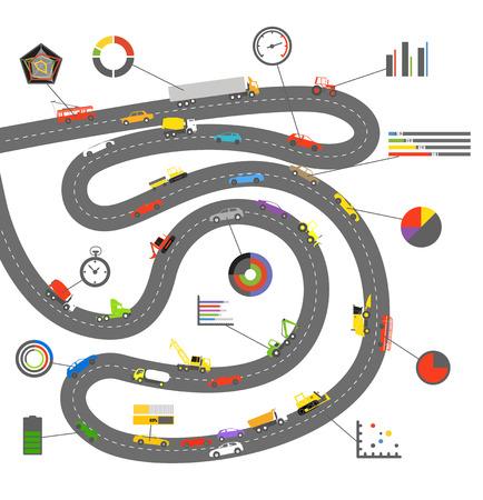 parameter: Transportation scheme with infographoc elements on white