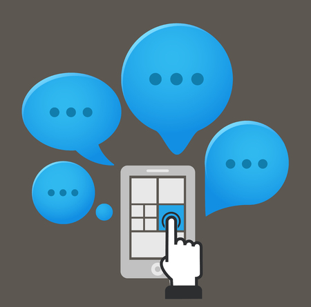 Modern smartphone with group of speech clouds Vector