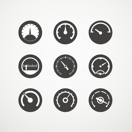 Different slyles of speedometers vector collection Illusztráció