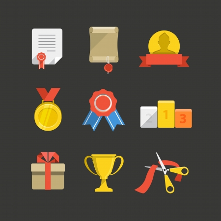 yarışma: Yarışma ödülleri renk düz simge seti Çizim