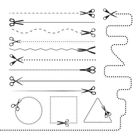 couplers: Scissors silhouettes dividers. Vector design elements