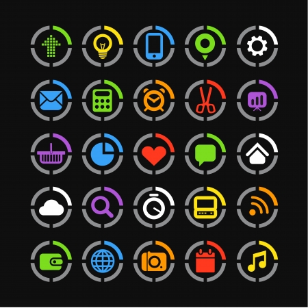 Color web icons on circles collection Vector